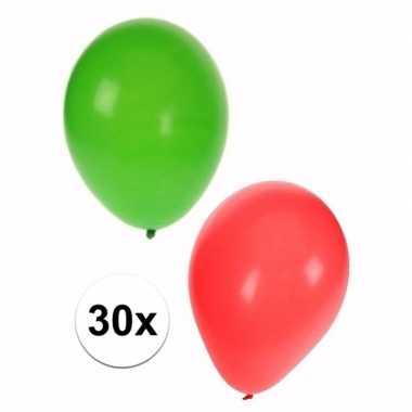Kerst versiering ballonnen 30 stuks rood en groen