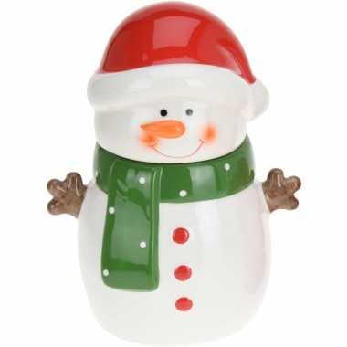 Kerst versiering koekpot/snoeppot sneeuwpop 23 cm