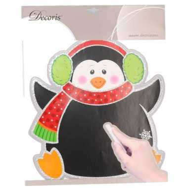 Kerst versiering pinguin krijtbord sticker 31 x 38 cm