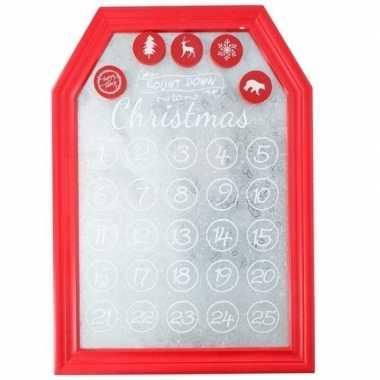 Kerst versiering planbord / magneetbord rood 31 x 45 cm