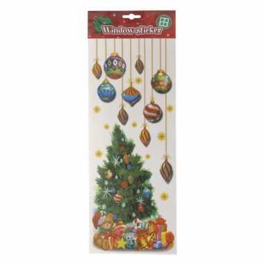 Kerst versiering raamsticker kerstboom met kerstballen 42 cm