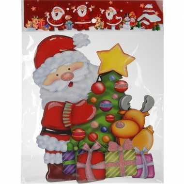 Kerst versiering raamstickers 3d kerstman/kerstboom 25 x 34 cm