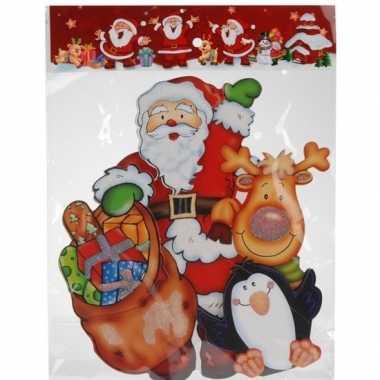 Kerst versiering raamstickers 3d kerstman/pinguin 25 x 34 cm