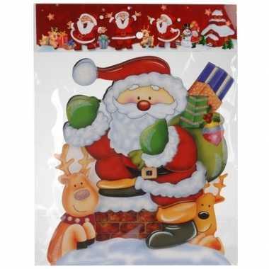 Kerst versiering raamstickers 3d kerstman/rendieren 25 x 34 cm
