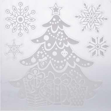 Kerst versiering raamstickers kerstboom/sneeuwvlok 31 x 39 cm