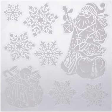 Kerst versiering raamstickers kerstman/kado/sneeuwvlok 31 x 39 cm