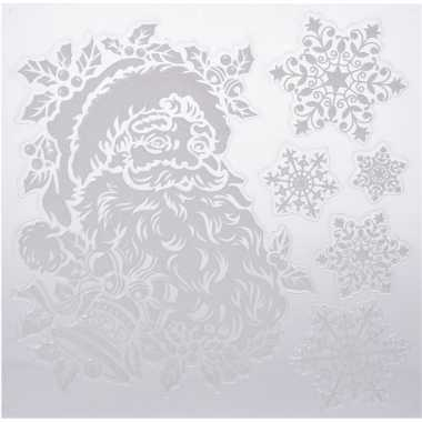 Kerst versiering raamstickers kerstman/sneeuwvlok 31 x 39 cm