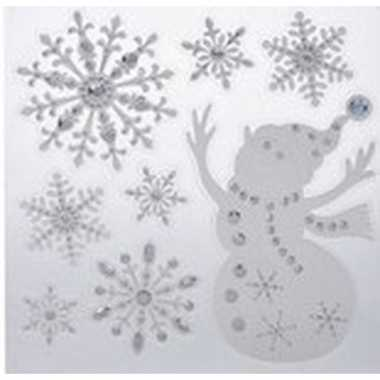 Kerst versiering raamstickers sneeuwpop/sneeuwvlok 31 x 39 cm