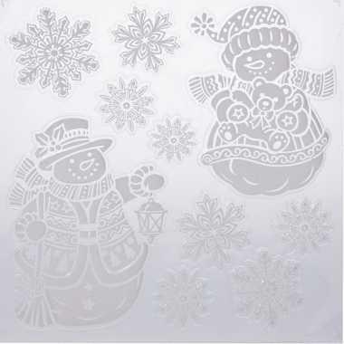 Kerst versiering raamstickers sneeuwpoppen/sneeuwvlok 31 x 39 cm