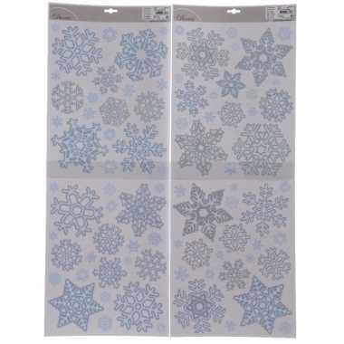 Kerst versiering raamstickers sneeuwvlokken 30 x 42 cm