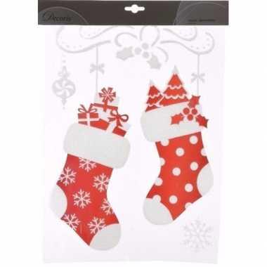 Kerst versiering raamstickers sokken 2 stuks 40 cm type 1