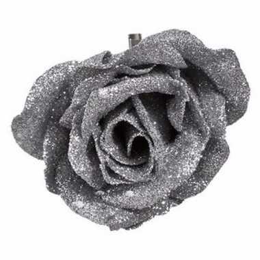 Kerst versiering roos zilver/glitter 9 cm
