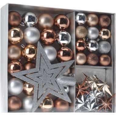 Kerst versiering set 45 delig brons zilver goud royal classics
