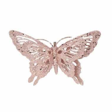 Kerst versiering vlinder roze 15 x 11 cm