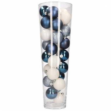 Kerst woonversiering vaas met blauw witte kerstballen