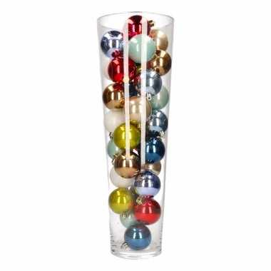 Kerst woonversiering vaas met gekleurde kerstballen