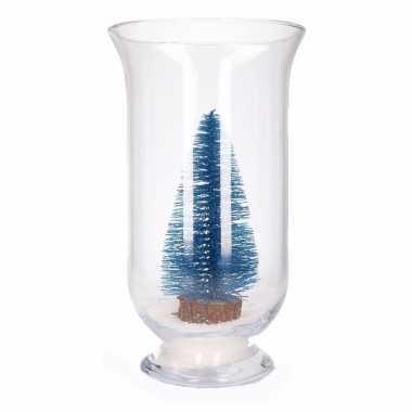 Kerst woonversiering vaas met glitter boompje blauw
