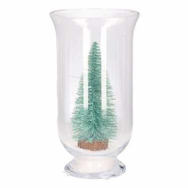 Kerst woonversiering vaas met glitter boompje mintgroen