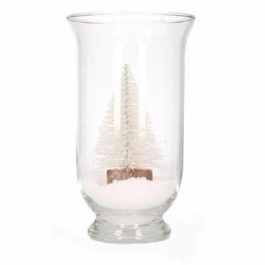 Kerst woonversiering vaas met glitter boompje wit
