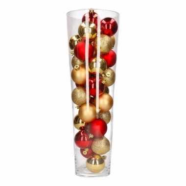 Kerst woonversiering vaas met goud rode kerstballen