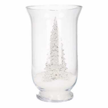 Kerst woonversiering vaas met led boompje