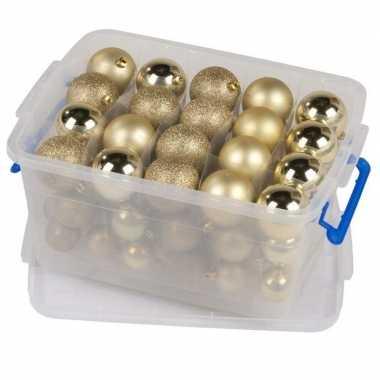 Kerstballen goud in box kerstboom versiering 70 stuks