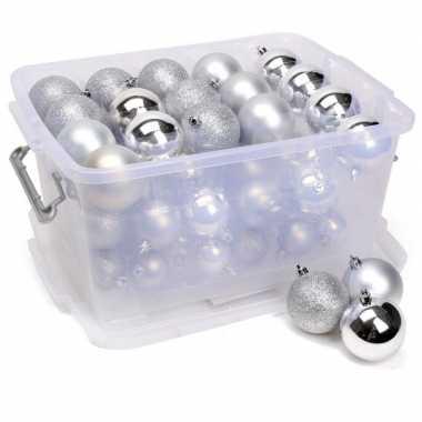 Kerstballen zilver in box kerstboom versiering 70 stuks