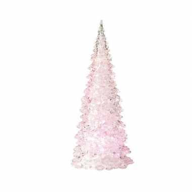 Kerstboom led lamp kerst versiering roze 10 x 22 cm