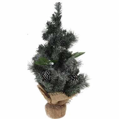 Kerstboom met versiering/versiering en jute voet 50 cm