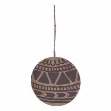 Kerstboom versiering bal hout/bruin 8 cm