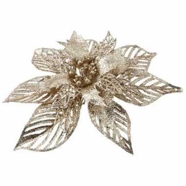 Kerstboom versiering bloem goud 23 cm for Versiering goud