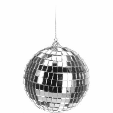 Kerstboom versiering discobal zilver 10 cm