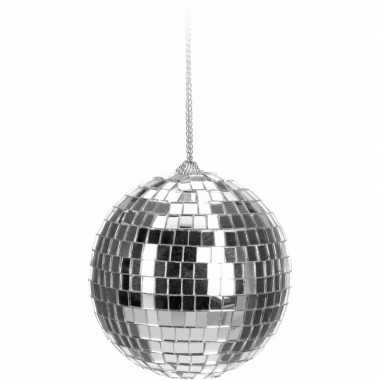 Kerstboom versiering discobal zilver 6 cm