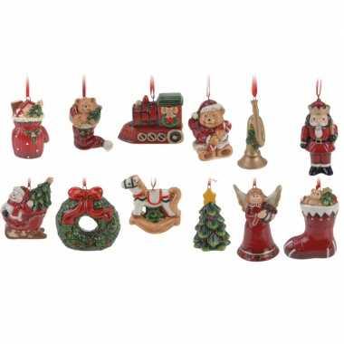 Kerstboom versiering hangers setje 12 stuks 8 cm ..