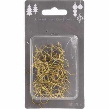 Kerstboom versiering kerstbalhaakjes goud 50 stuks for Versiering goud