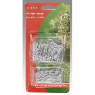 Kerstboom versiering kerstbalhaakjes zilver 150 stuks
