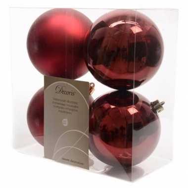 Kerstboom versiering kerstballen 10 cm mix donker rood 8 stuks