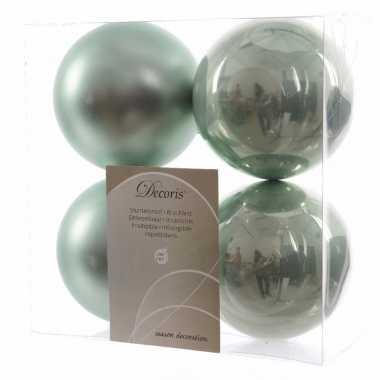 Kerstboom versiering kerstballen 10 cm mix mint 8 stuks