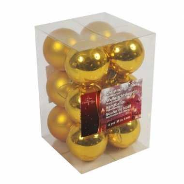 Kerstboom versiering kerstballen goud 12x stuks 6 cm
