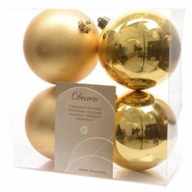 Kerstboom versiering kerstballen mix 10 cm goud 8 stuks