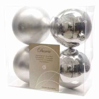 Kerstboom versiering kerstballen mix 10 cm zilver 8 stuks