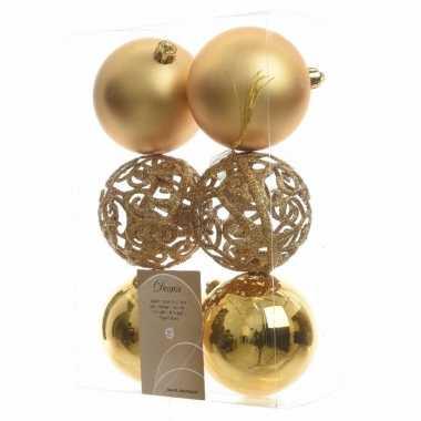 Kerstboom versiering kerstballen mix 8 cm goud 12 stuks