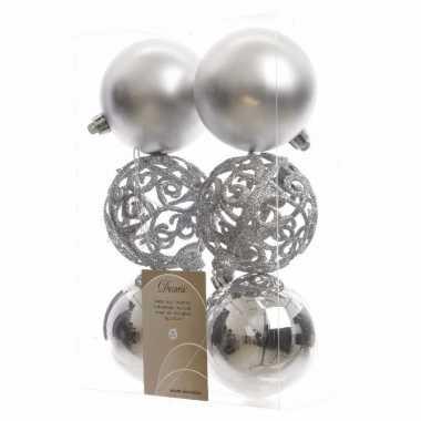 Kerstboom versiering kerstballen mix 8 cm zilver 12 stuks