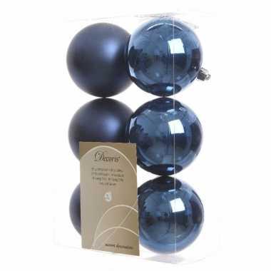 Kerstboom versiering kerstballen mix blauw 12 stuks
