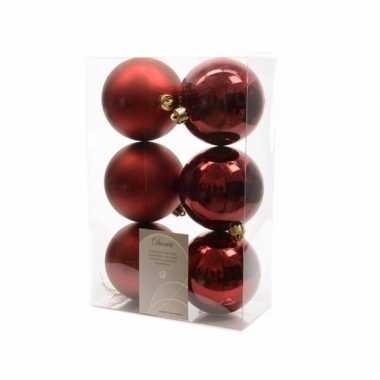 Kerstboom versiering kerstballen mix donker rood 12 stuks