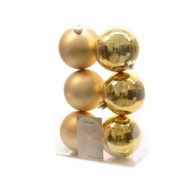 Kerstboom versiering kerstballen mix goud 12 stuks