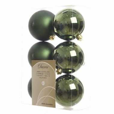 Kerstboom versiering kerstballen mix groen 12 stuks
