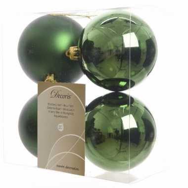 Kerstboom versiering kerstballen mix groen 8 stuks