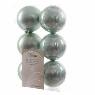 Kerstboom versiering kerstballen mix mint 12 stuks