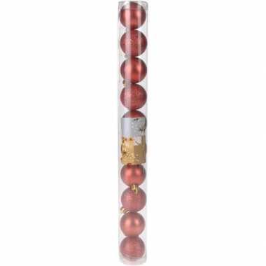 Kerstboom versiering kerstballen mix rood 10 stuks type 1